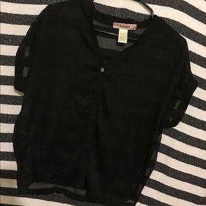 Sheer Black Button up Shirt
